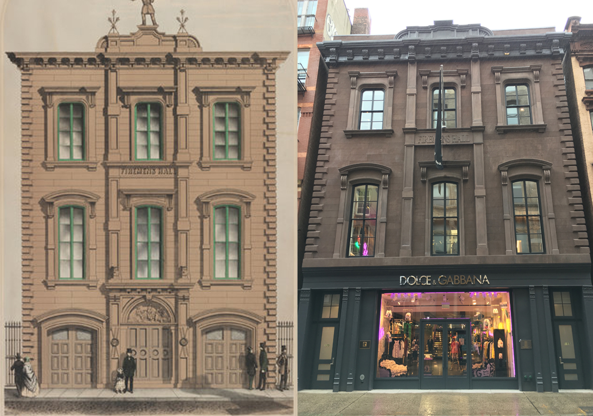 Facade of 155 Mercer Street then and now