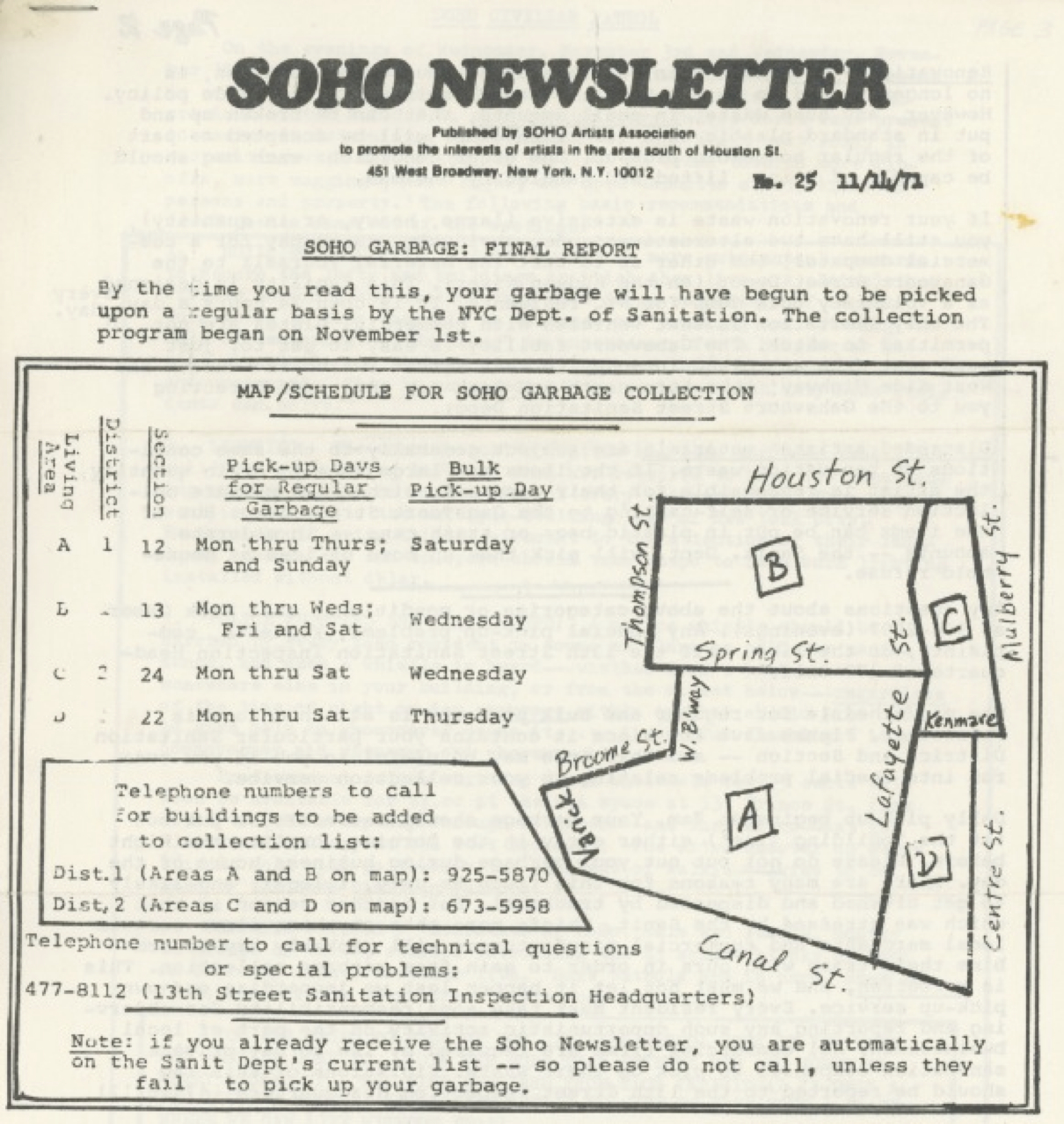 A 1971 map of SoHo's new trash collection zones