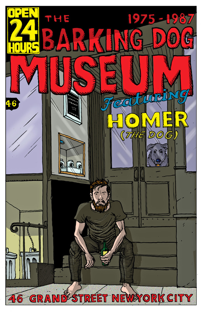 Rick Parker and his dog Homer sitting in front of the Barking Dog Museum on Grand Street (illustration by Rick Parker)