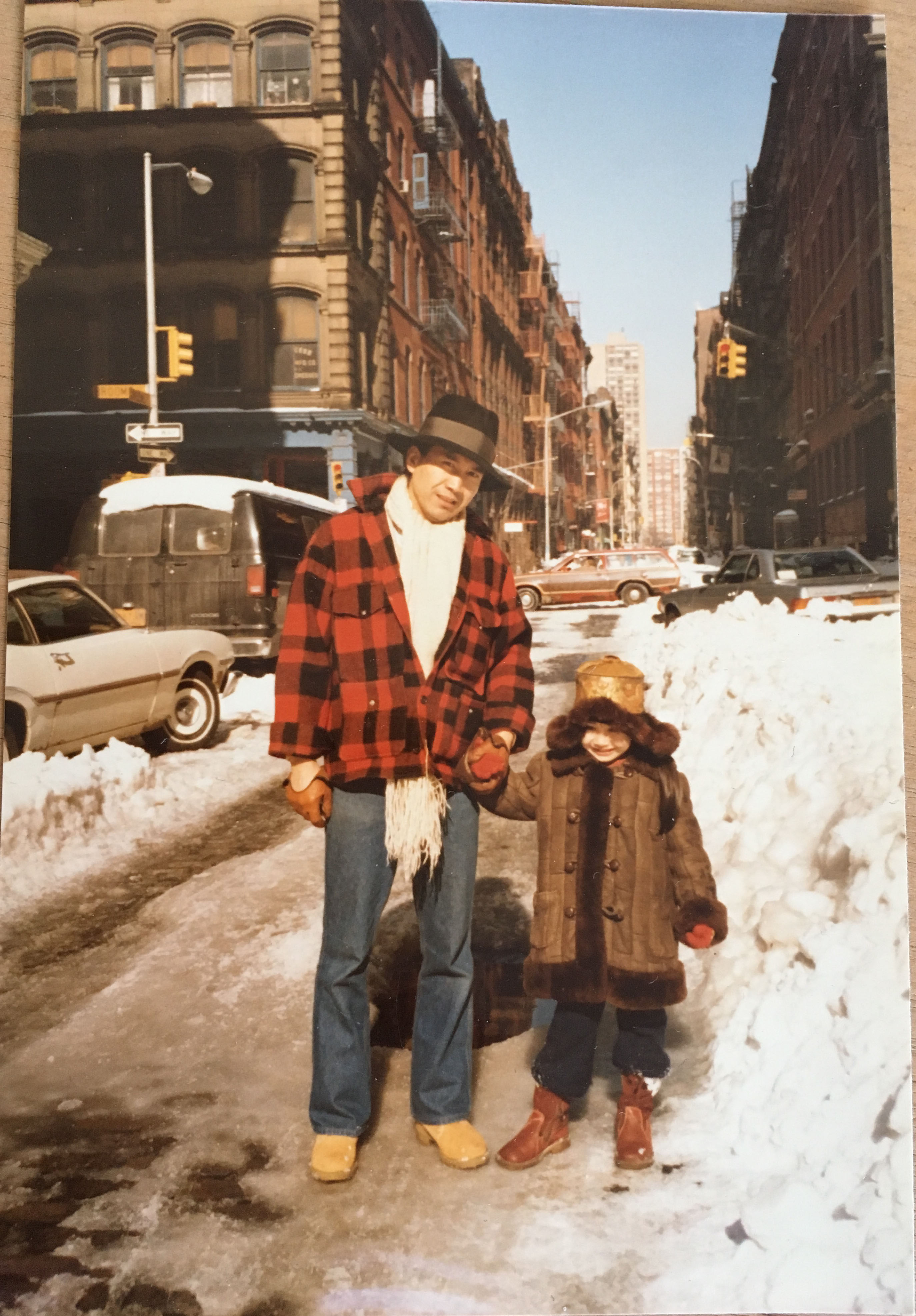My father (Tohru Nakamura) and me (Hana Nakamura) on Greene and Broome, in about 1983(?).