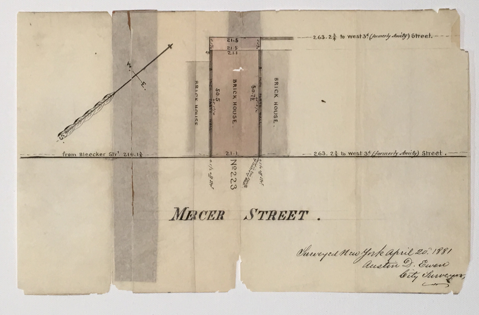 Surveyor's Map of Mercer Street 1881