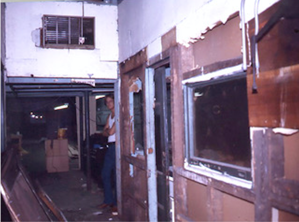Entrance of ground-floor loft as it was when we signed the lease in October 1976.  In its history there had been a printing company, a garment factory (we found lots of pins between the floor boards), and just before we moved in a firm where they made and refurbished Japanese cooking tops like those used in Benihana.