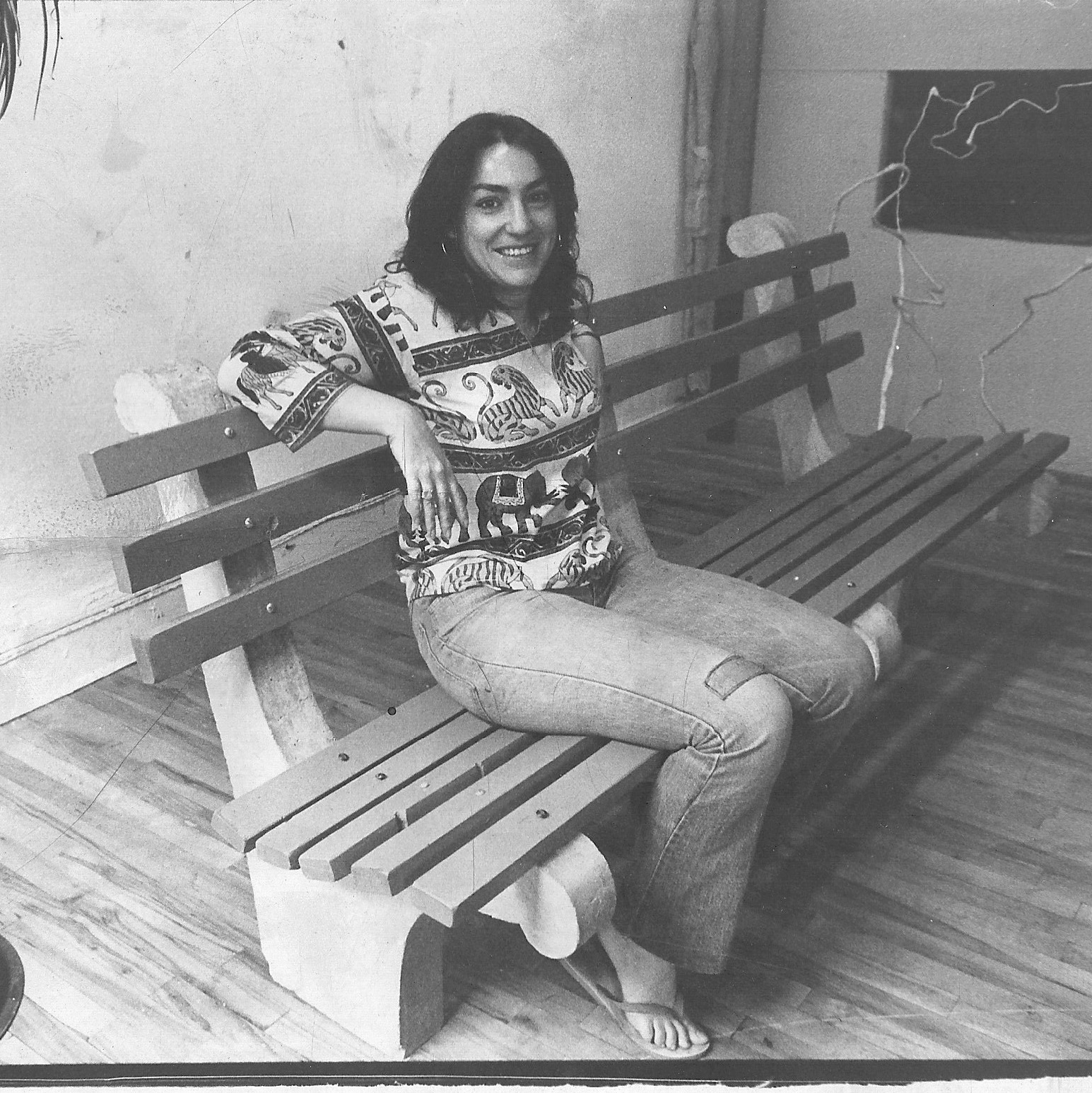 1974. Photo from Village Voice article featuring the Replicas of NYC Park Benches that I was building.